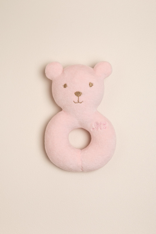 Sonajero aro oso rosa
