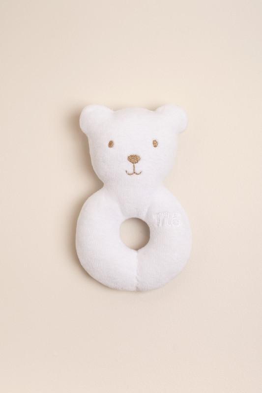 Sonajero aro oso blanco